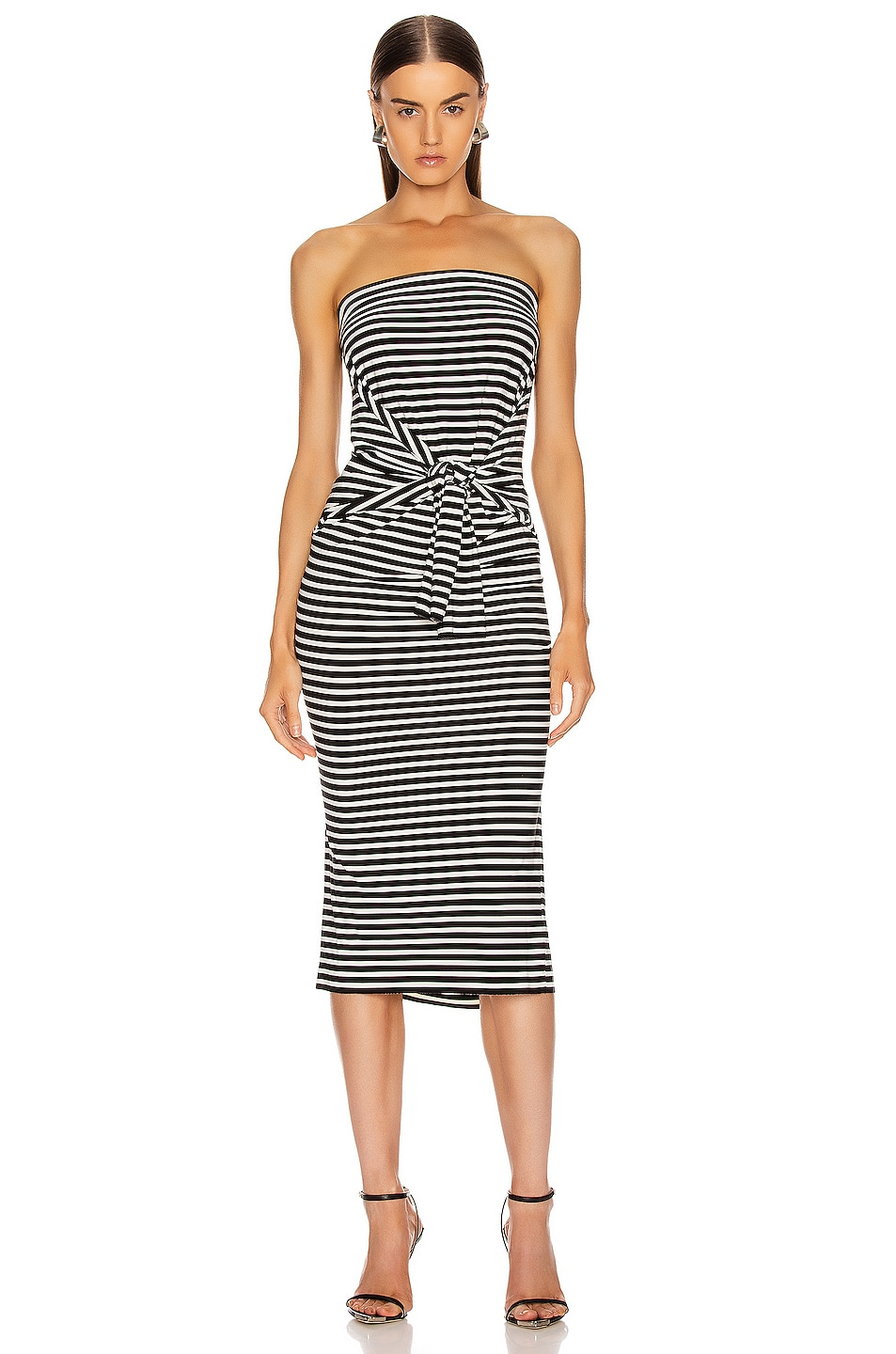 Image 1 of Norma Kamali Four Sleeve Off The Shoulder Dress in Black Stripe