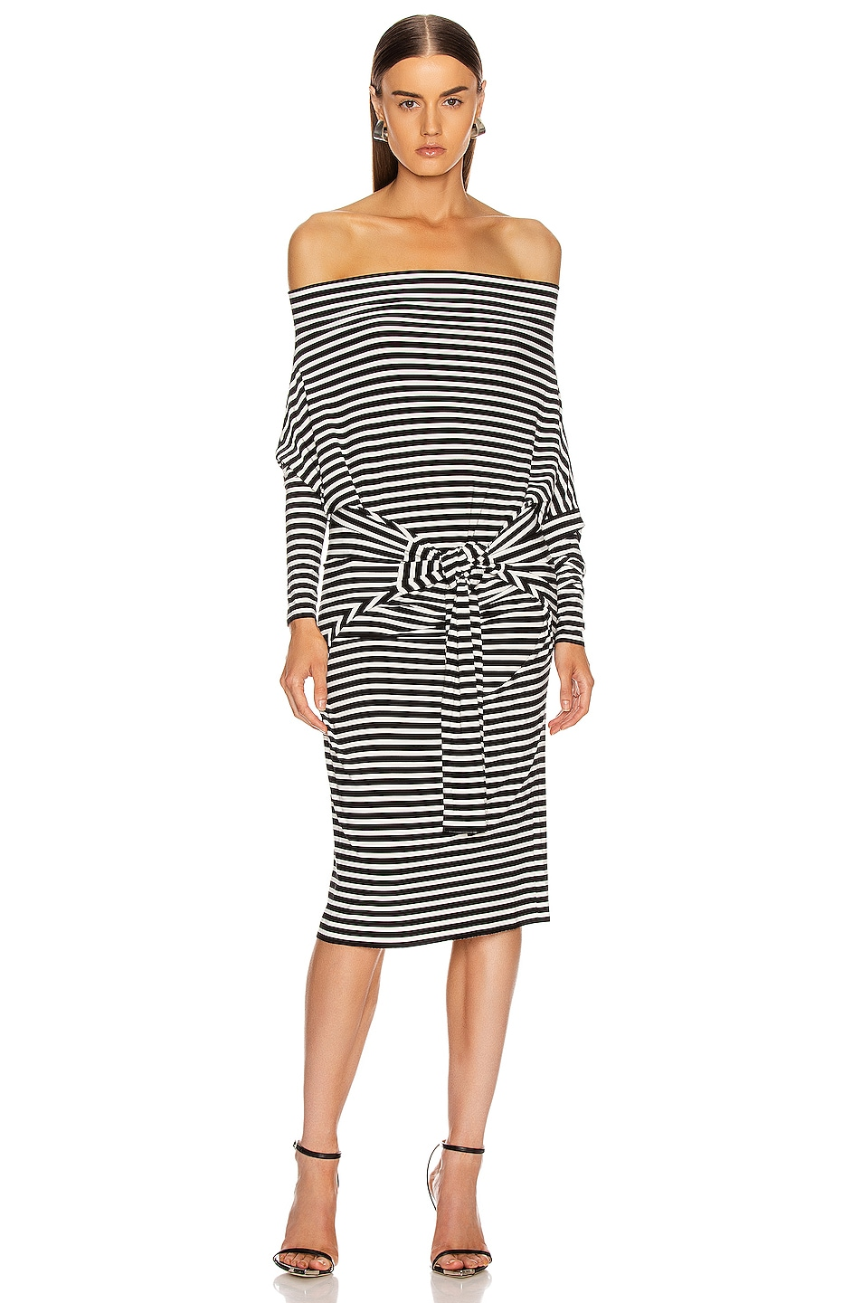 Image 3 of Norma Kamali Four Sleeve Off The Shoulder Dress in Black Stripe