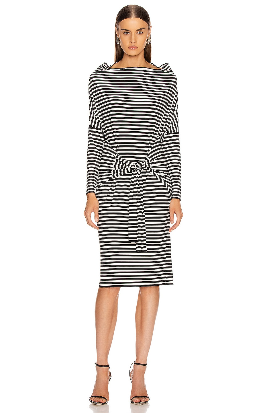 Image 4 of Norma Kamali Four Sleeve Off The Shoulder Dress in Black Stripe