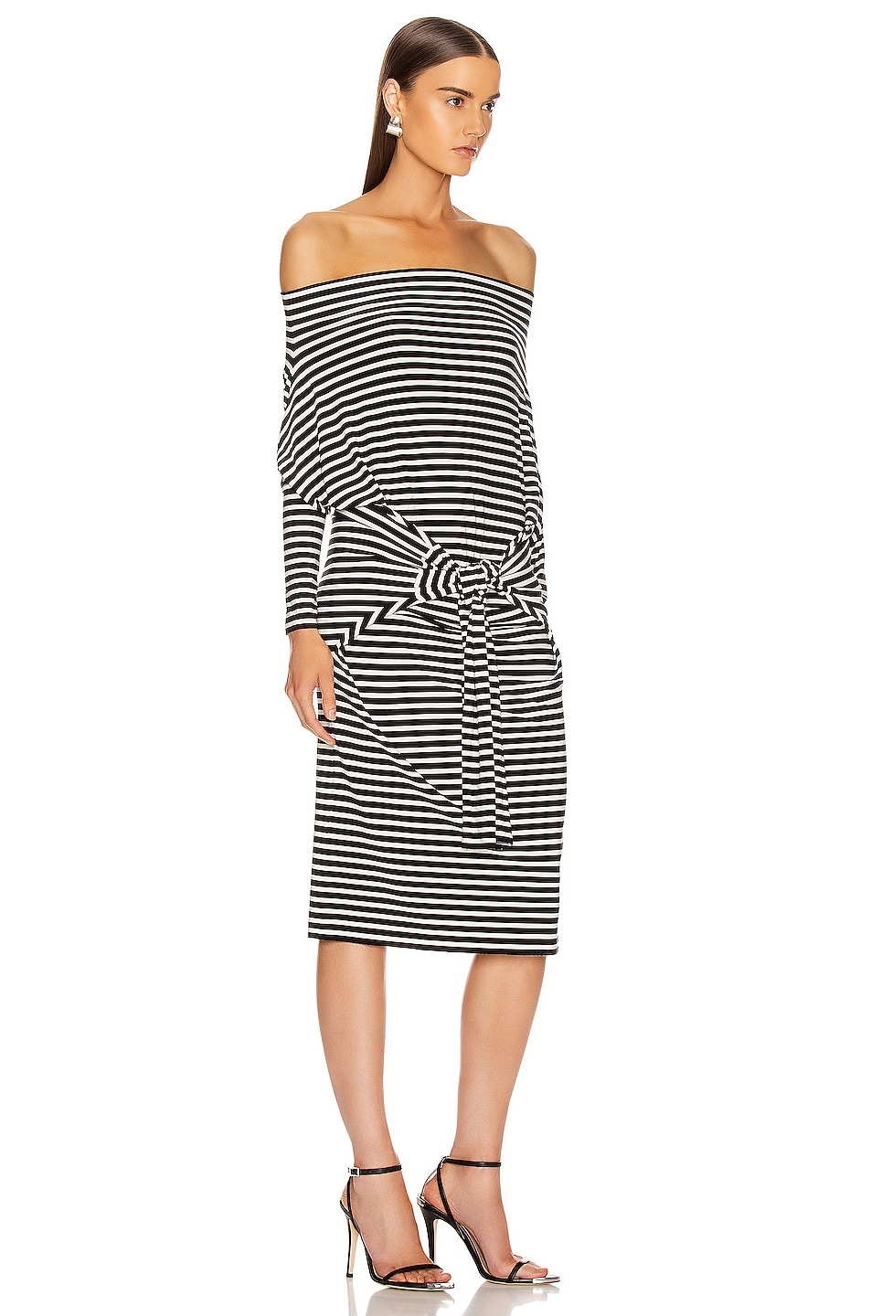 Image 5 of Norma Kamali Four Sleeve Off The Shoulder Dress in Black Stripe