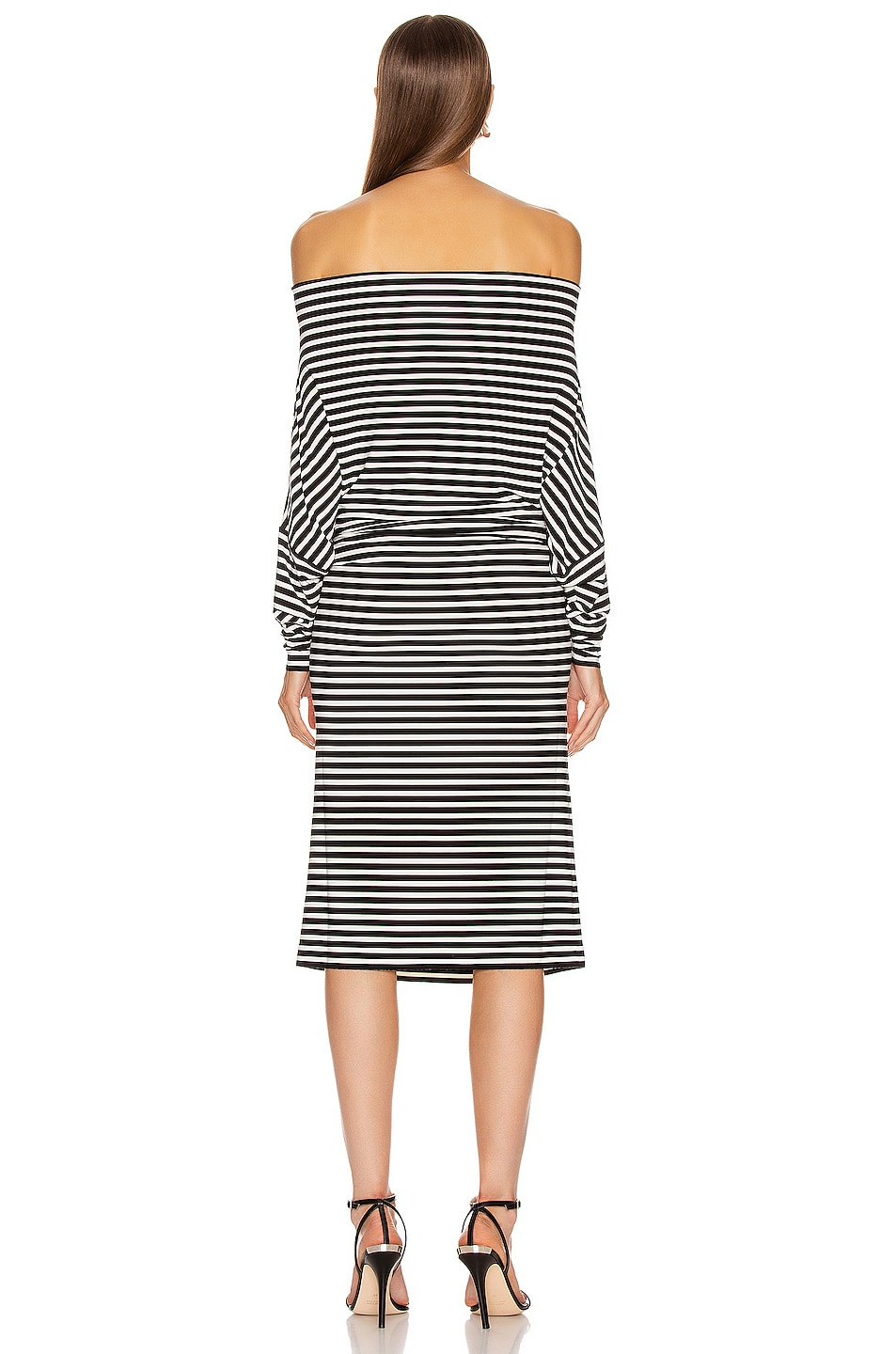 Image 6 of Norma Kamali Four Sleeve Off The Shoulder Dress in Black Stripe