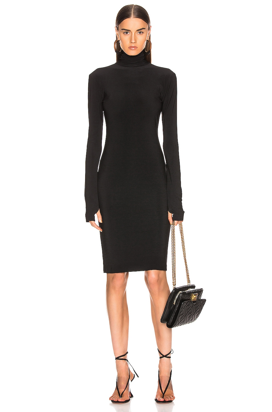 Image 1 of Norma Kamali Slim Fit Turtleneck Dress in Black