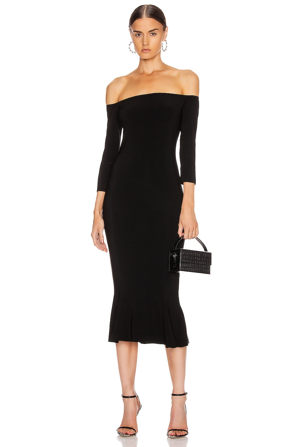 Image 1 of Norma Kamali Off Shoulder Fishtail Dress in Black