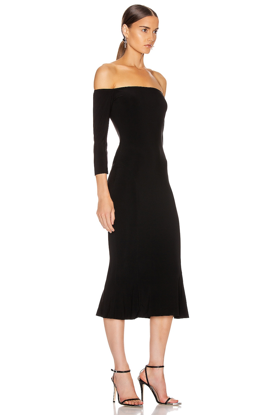 Image 2 of Norma Kamali Off Shoulder Fishtail Dress in Black