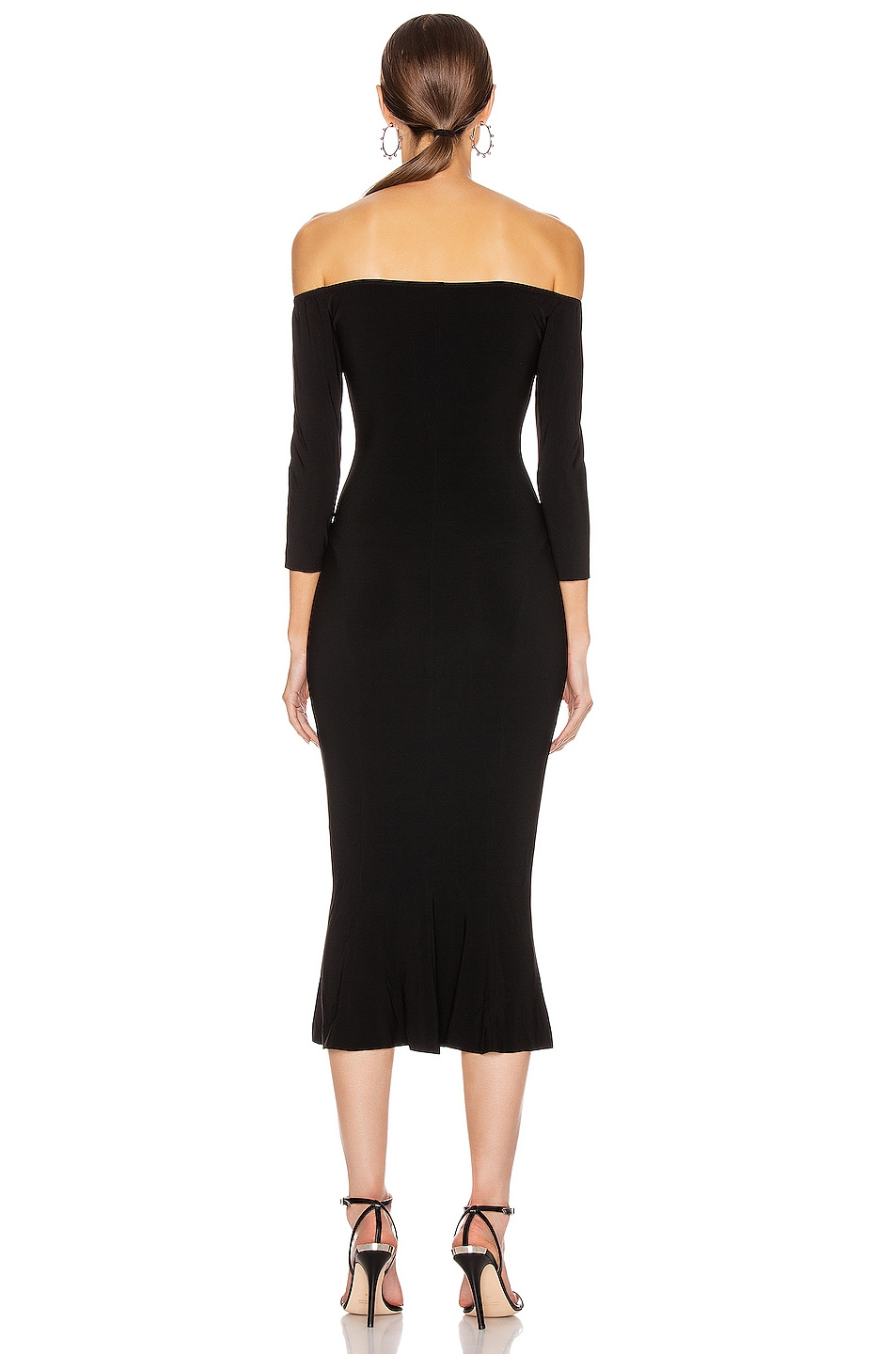 Image 3 of Norma Kamali Off Shoulder Fishtail Dress in Black