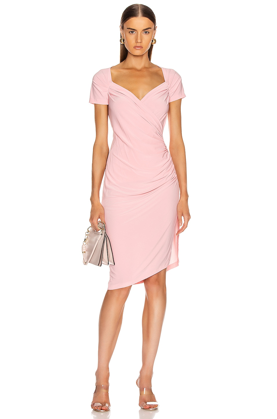 Image 1 of Norma Kamali for FWRD Sweetheart Side Drape Dress in Bubblegum