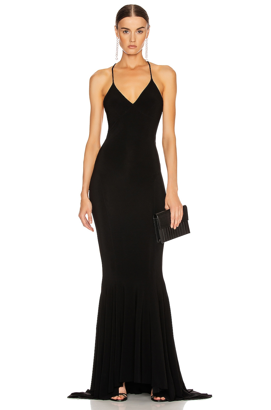 Image 1 of Norma Kamali Low Back Slip Mermaid Fishtail Gown in Black