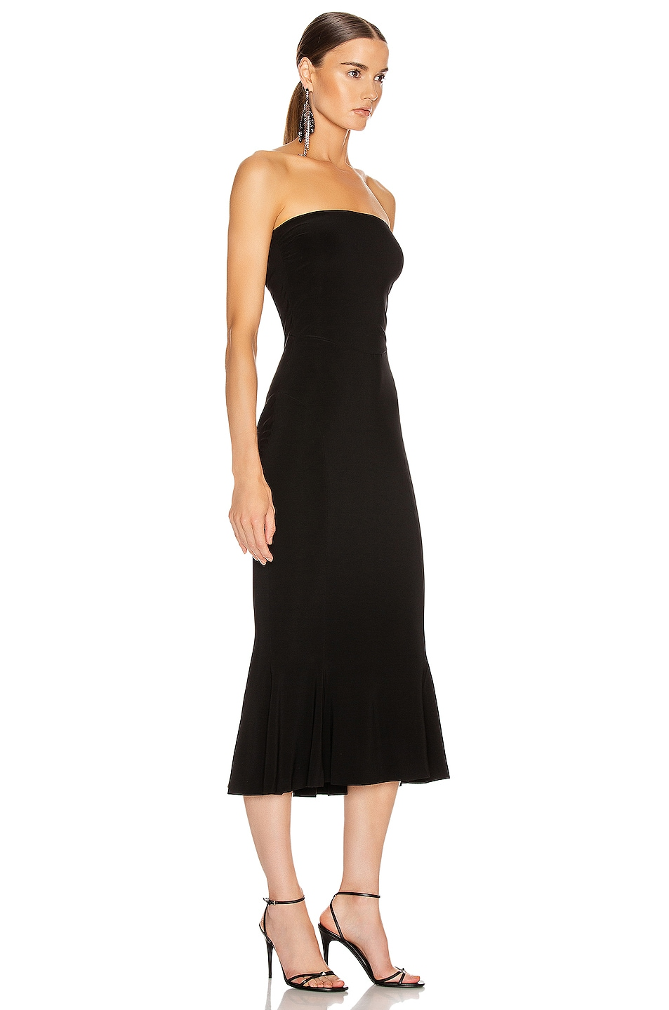 Image 2 of Norma Kamali Strapless Fishtail Dress To Midcalf in Black