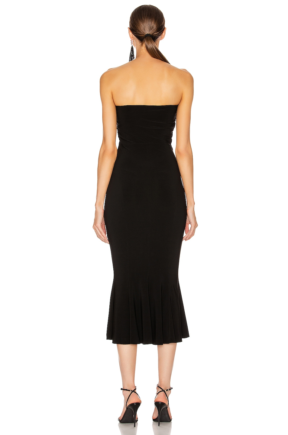 Image 3 of Norma Kamali Strapless Fishtail Dress To Midcalf in Black