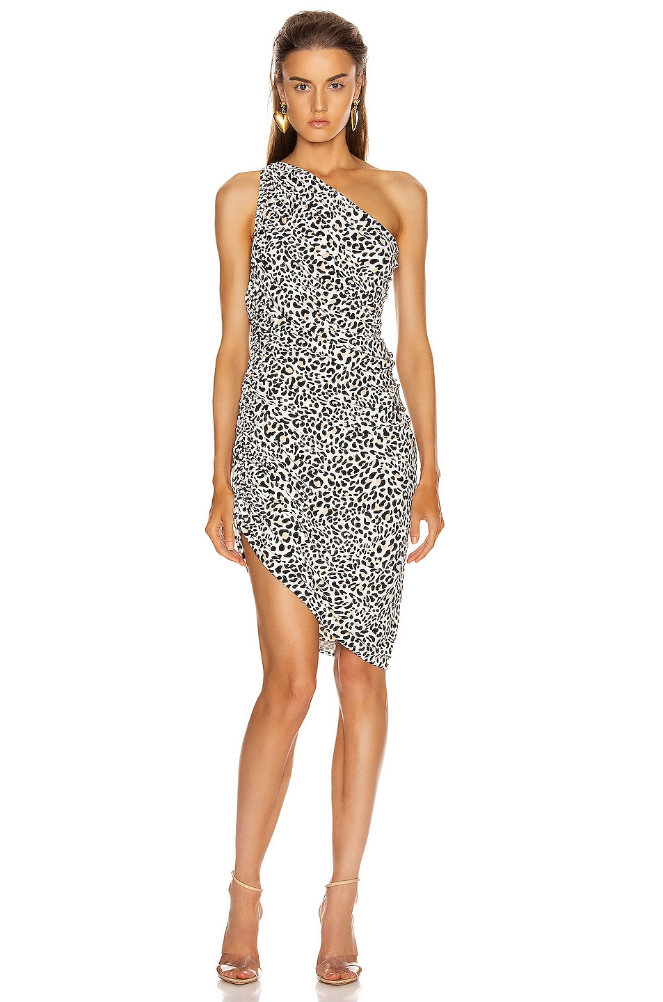 Image 1 of Norma Kamali Diana Mini Dress in Baby Leopard