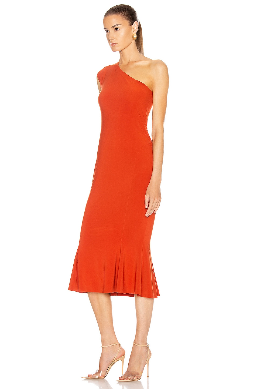 Image 3 of Norma Kamali One Shoulder Fishtail Dress in Cinnamon