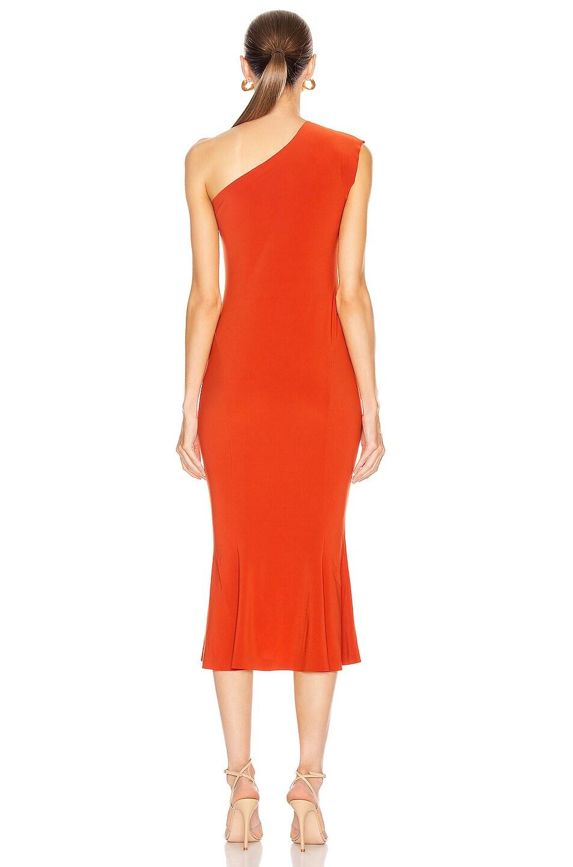 Image 4 of Norma Kamali One Shoulder Fishtail Dress in Cinnamon
