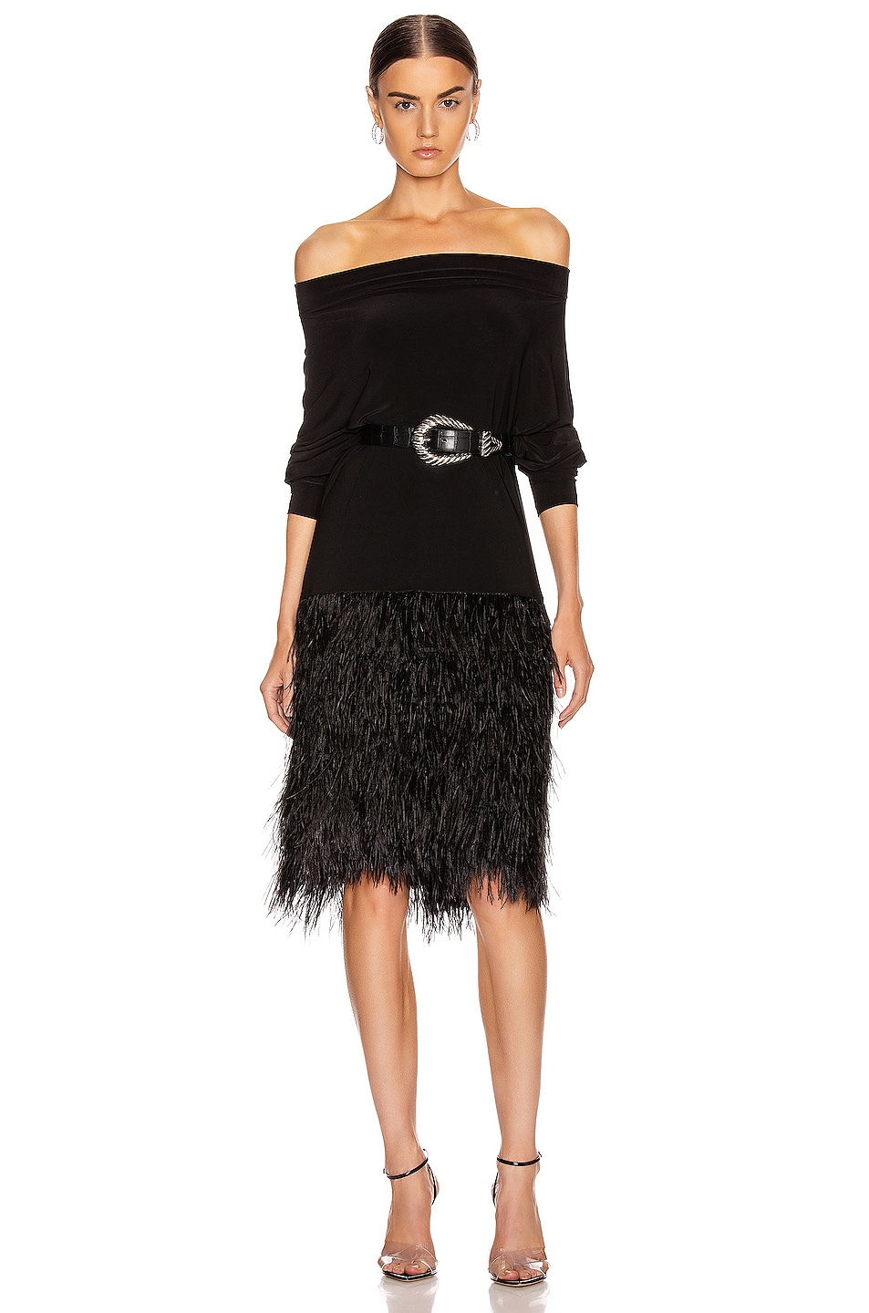 Image 2 of Norma Kamali Feather All In One Dress in Black