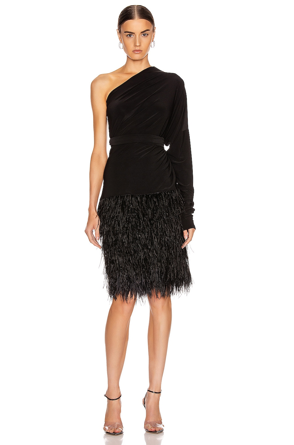 Image 3 of Norma Kamali Feather All In One Dress in Black