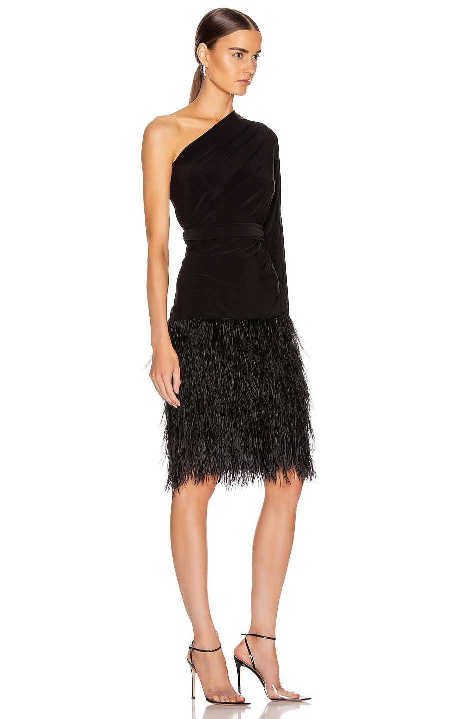 Image 4 of Norma Kamali Feather All In One Dress in Black