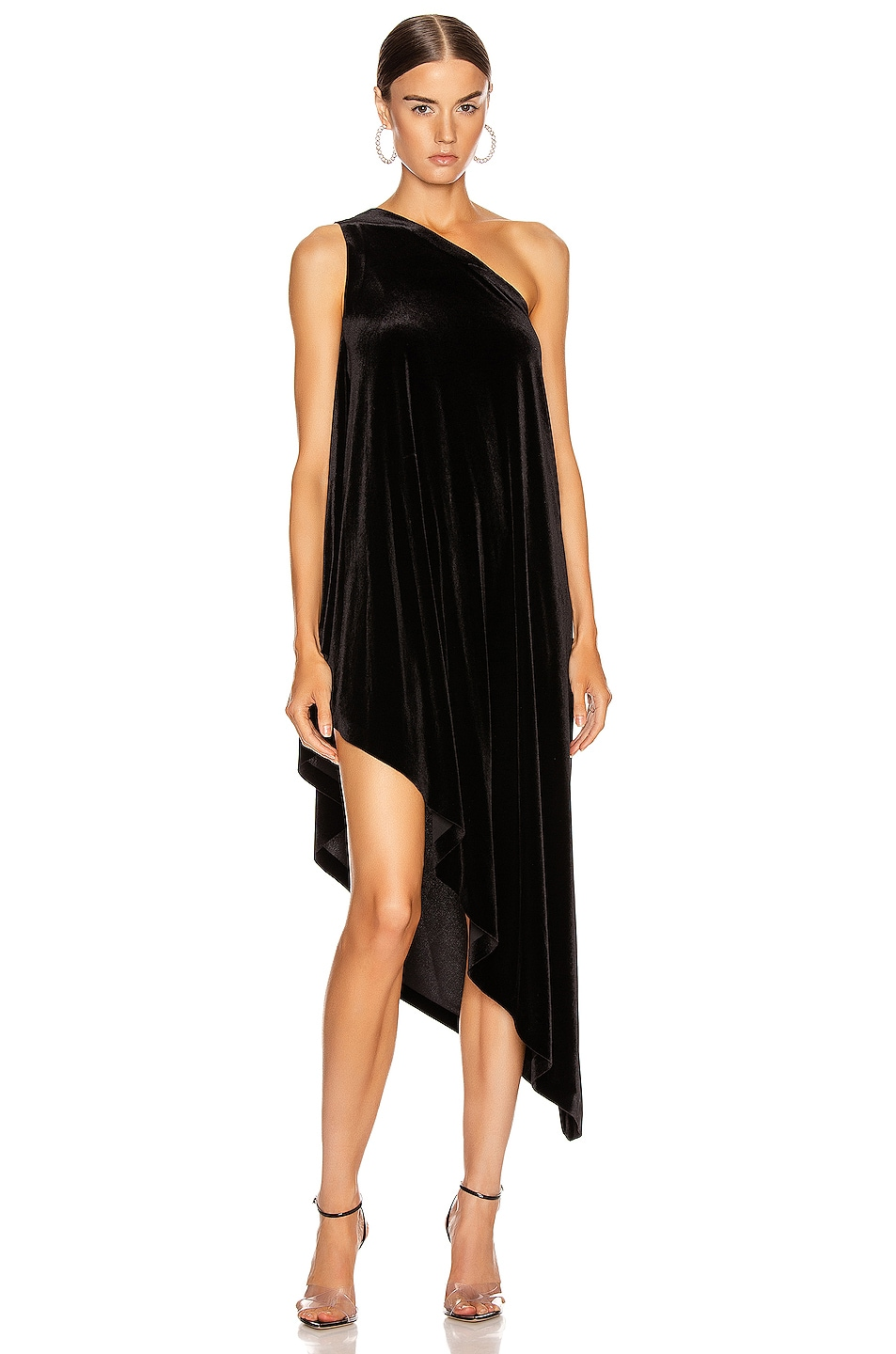Image 1 of Norma Kamali One Shoulder Diagonal Tunic in Black