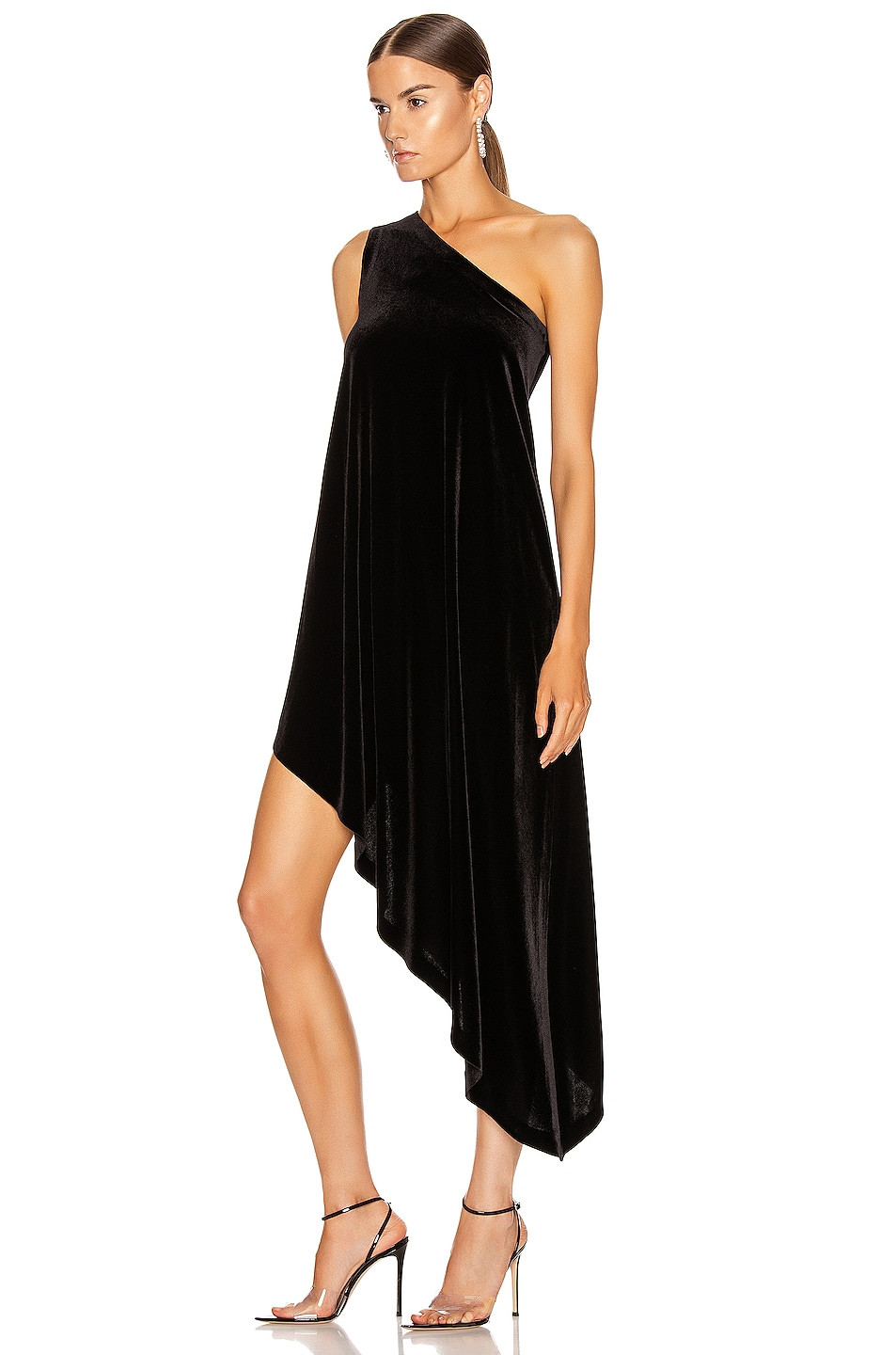 Image 3 of Norma Kamali One Shoulder Diagonal Tunic in Black