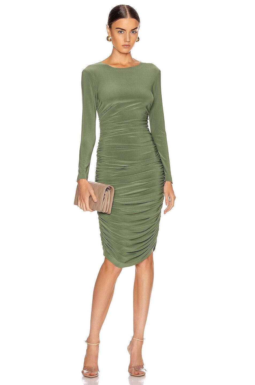 Image 1 of Norma Kamali Long Sleeve Shirred Dress in Celadon