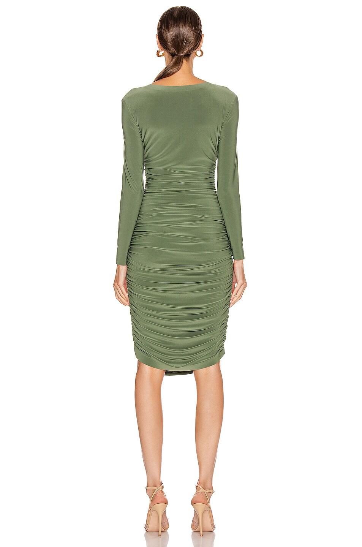 Image 3 of Norma Kamali Long Sleeve Shirred Dress in Celadon