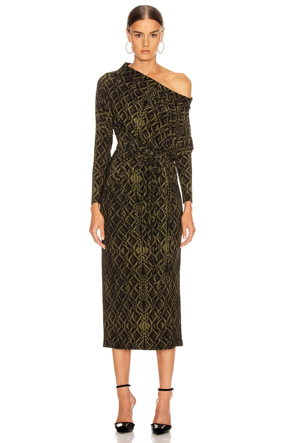 Image 3 of Norma Kamali Four Sleeve Off Shoulder Long Dress in Olive Sweater