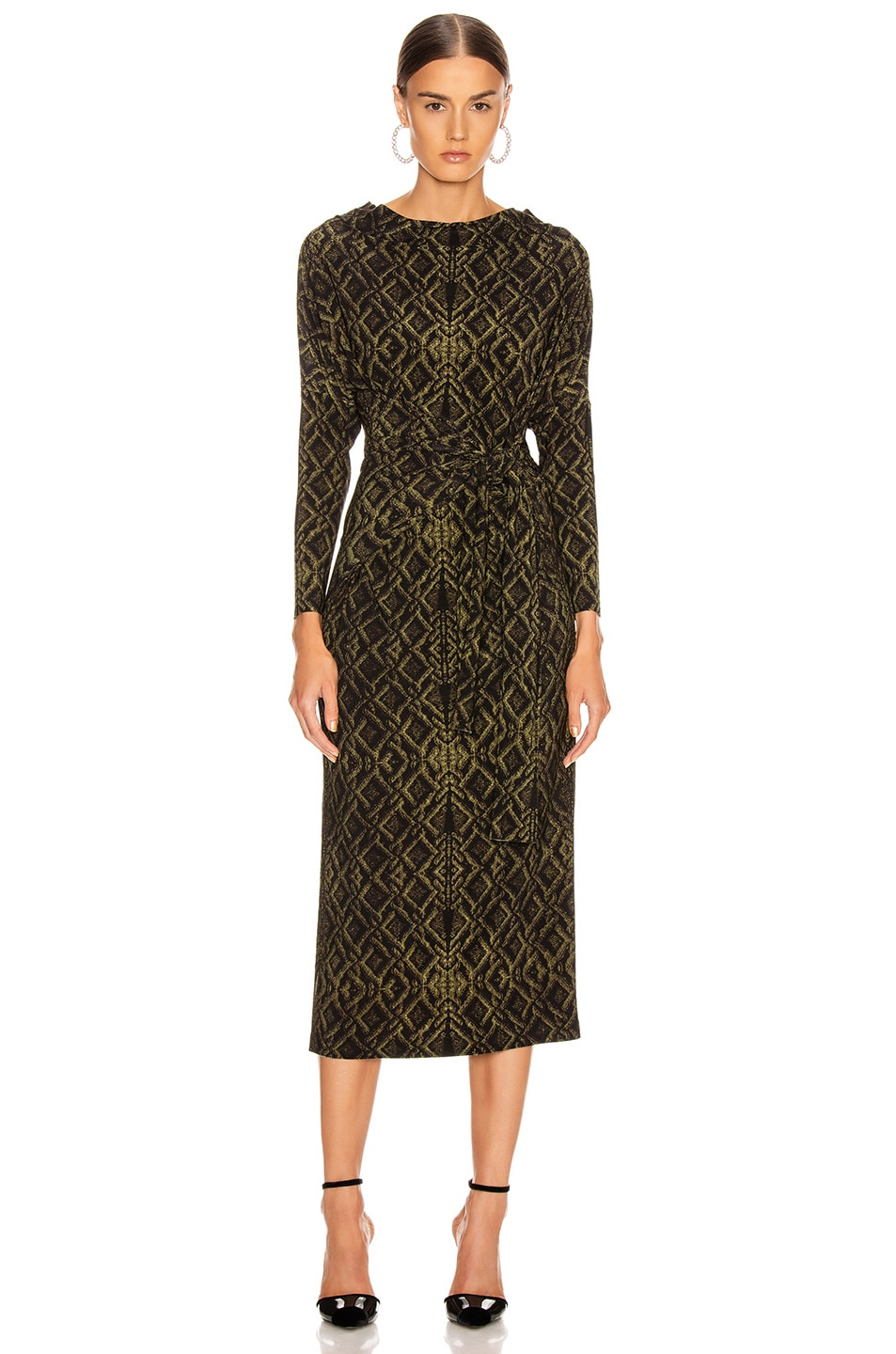 Image 4 of Norma Kamali Four Sleeve Off Shoulder Long Dress in Olive Sweater