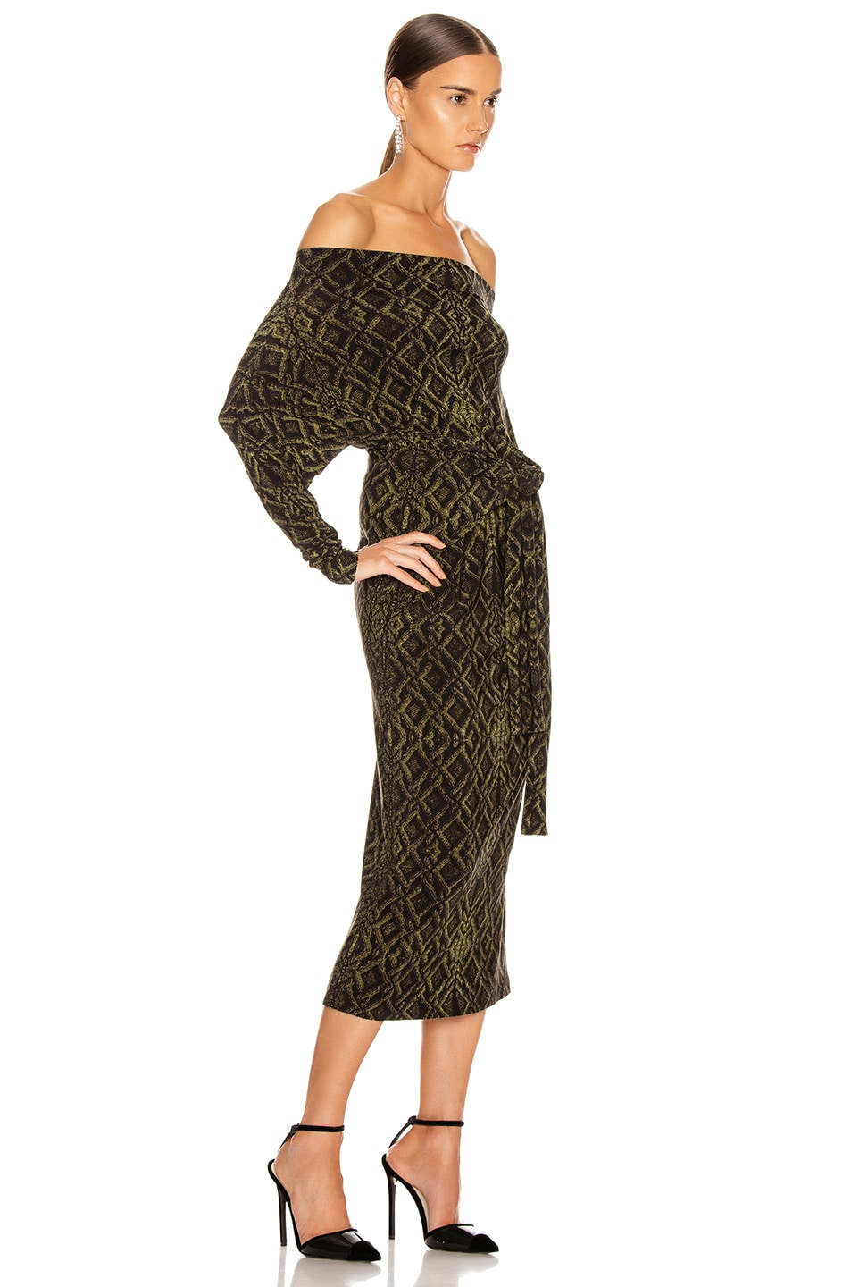 Image 5 of Norma Kamali Four Sleeve Off Shoulder Long Dress in Olive Sweater