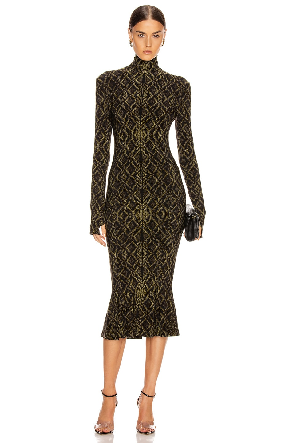 Image 1 of Norma Kamali Long Sleeve Turtleneck Fishtail Dress To Midcalf in Olive Sweater