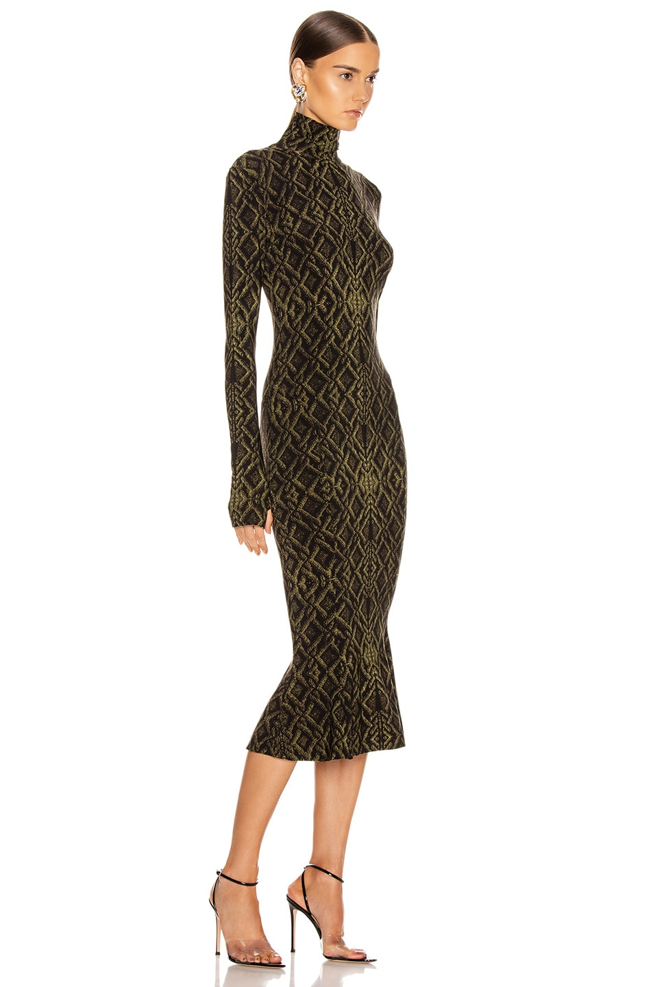 Image 2 of Norma Kamali Long Sleeve Turtleneck Fishtail Dress To Midcalf in Olive Sweater