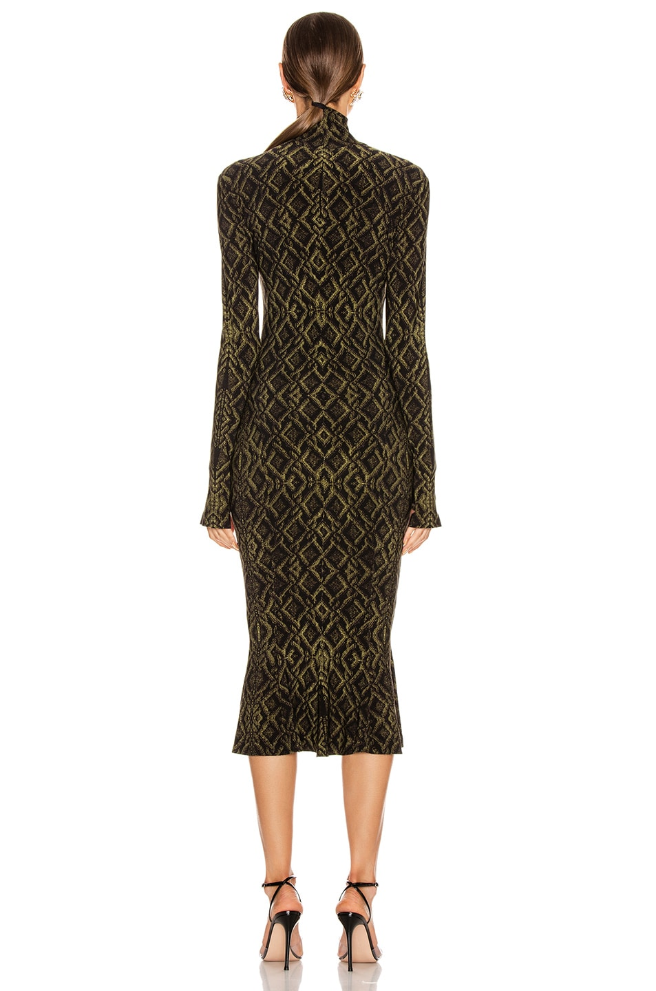 Image 3 of Norma Kamali Long Sleeve Turtleneck Fishtail Dress To Midcalf in Olive Sweater