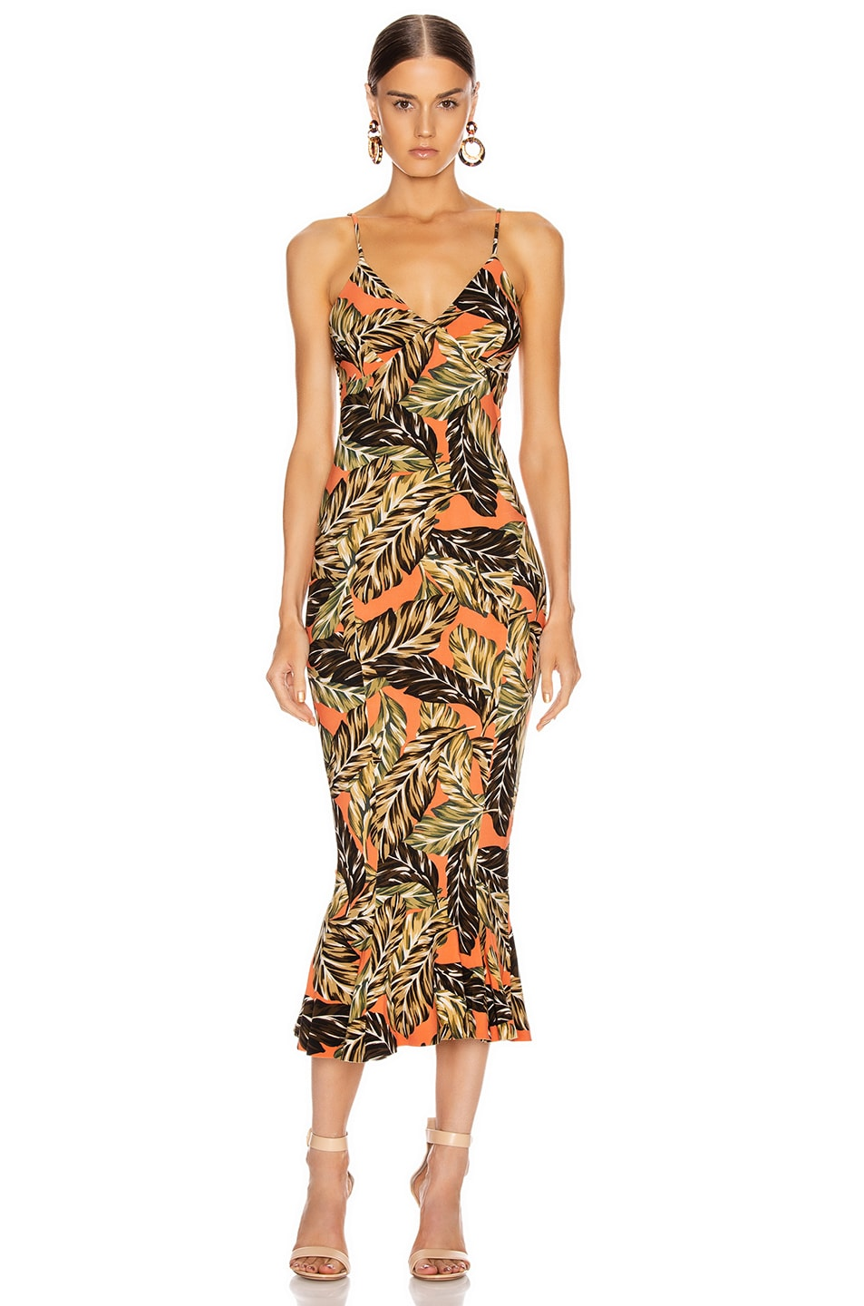 Image 1 of Norma Kamali Slip Fishtail Dress To Midcalf in Orange Falling Leaves