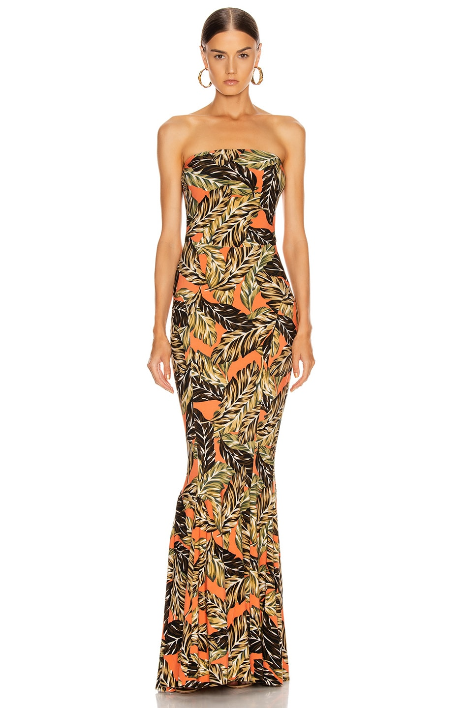 Image 1 of Norma Kamali Strapless Fishtail Gown in Orange Falling Leaves