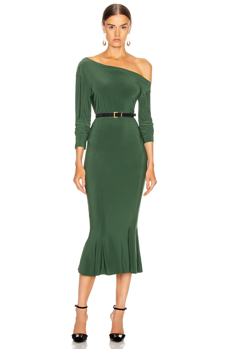 Image 1 of Norma Kamali Long Sleeve Drop Shoulder Fishtail Dress in Forest Green