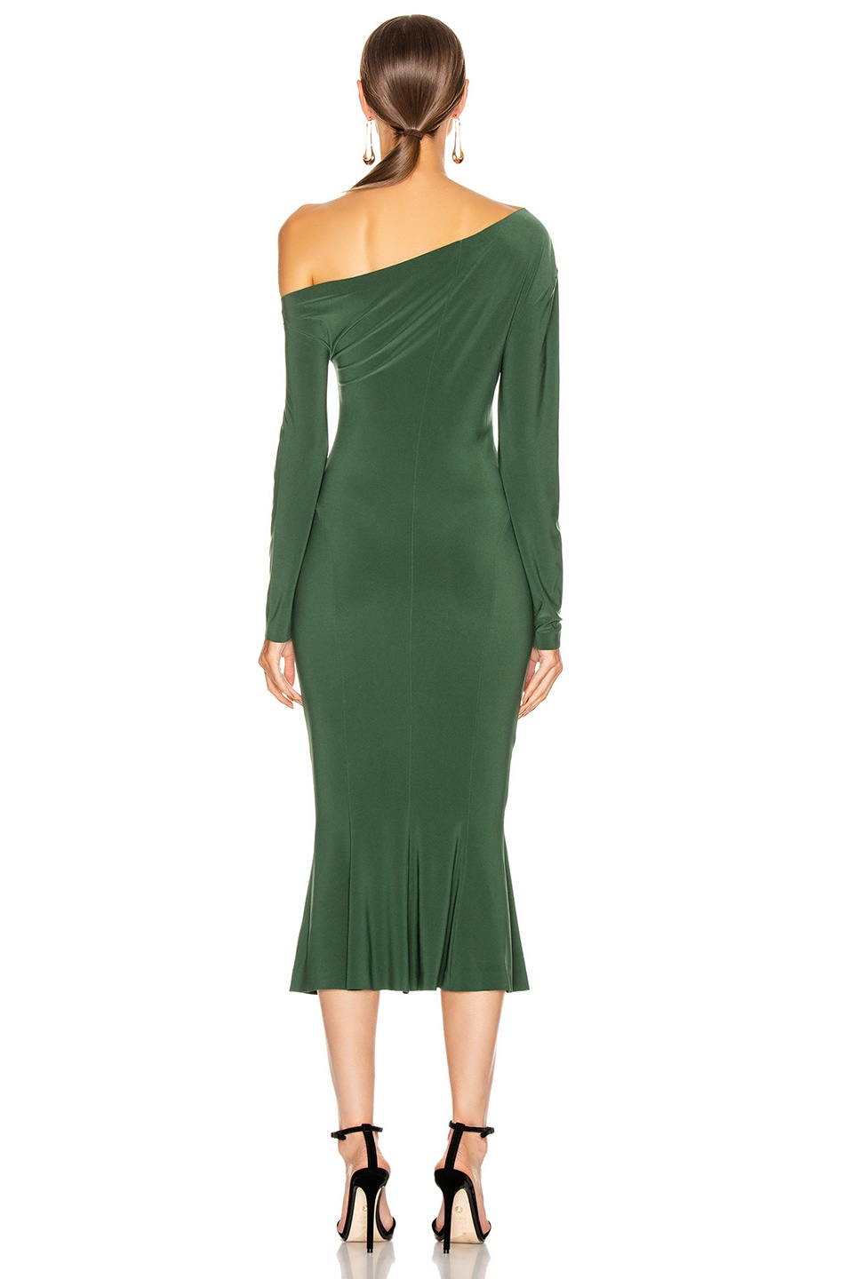 Image 3 of Norma Kamali Long Sleeve Drop Shoulder Fishtail Dress in Forest Green
