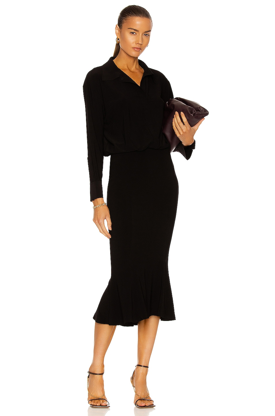 Image 1 of Norma Kamali Boyfriend NK Shirt Fishtail Dress in Black