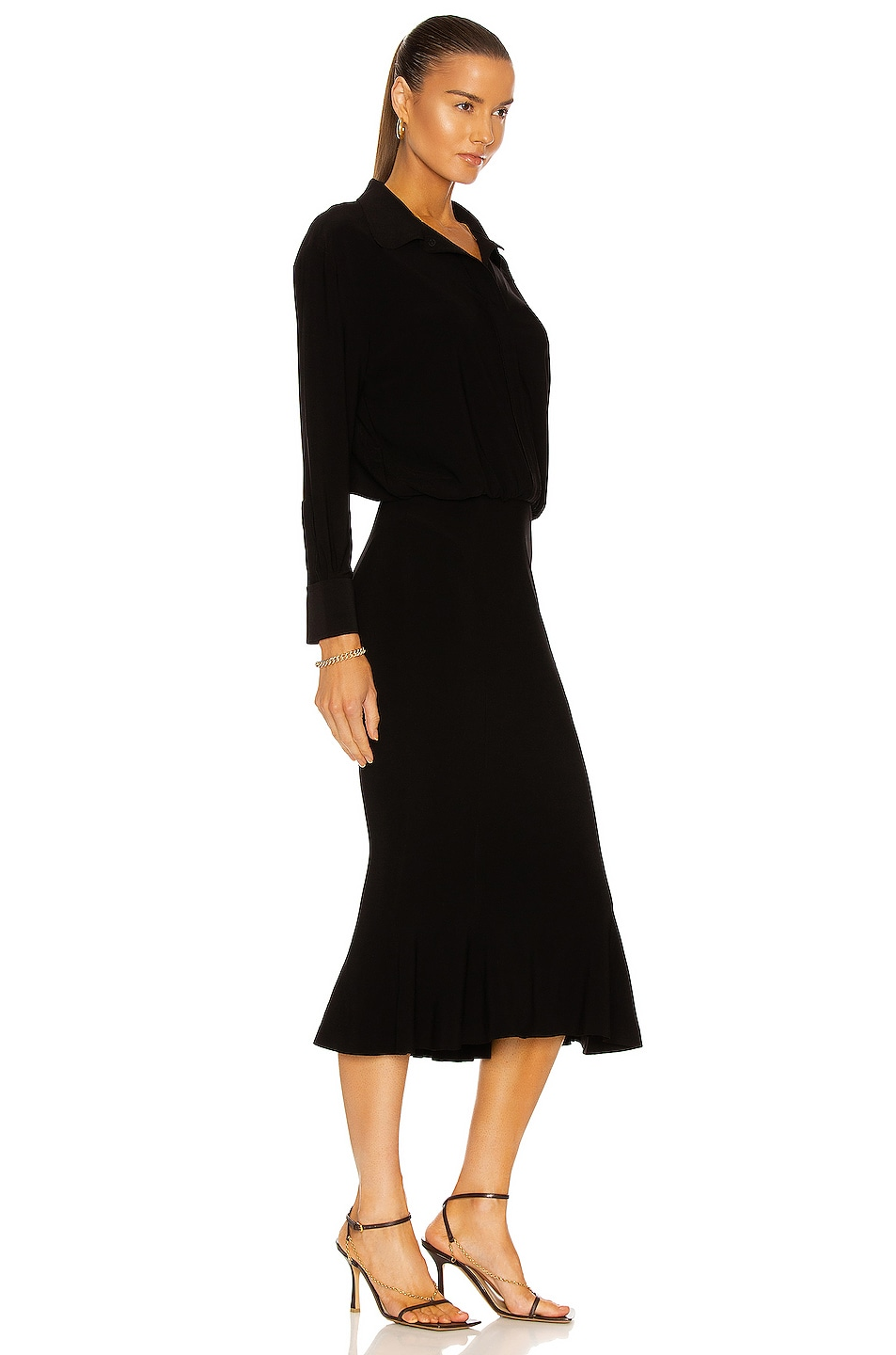 Image 2 of Norma Kamali Boyfriend NK Shirt Fishtail Dress in Black