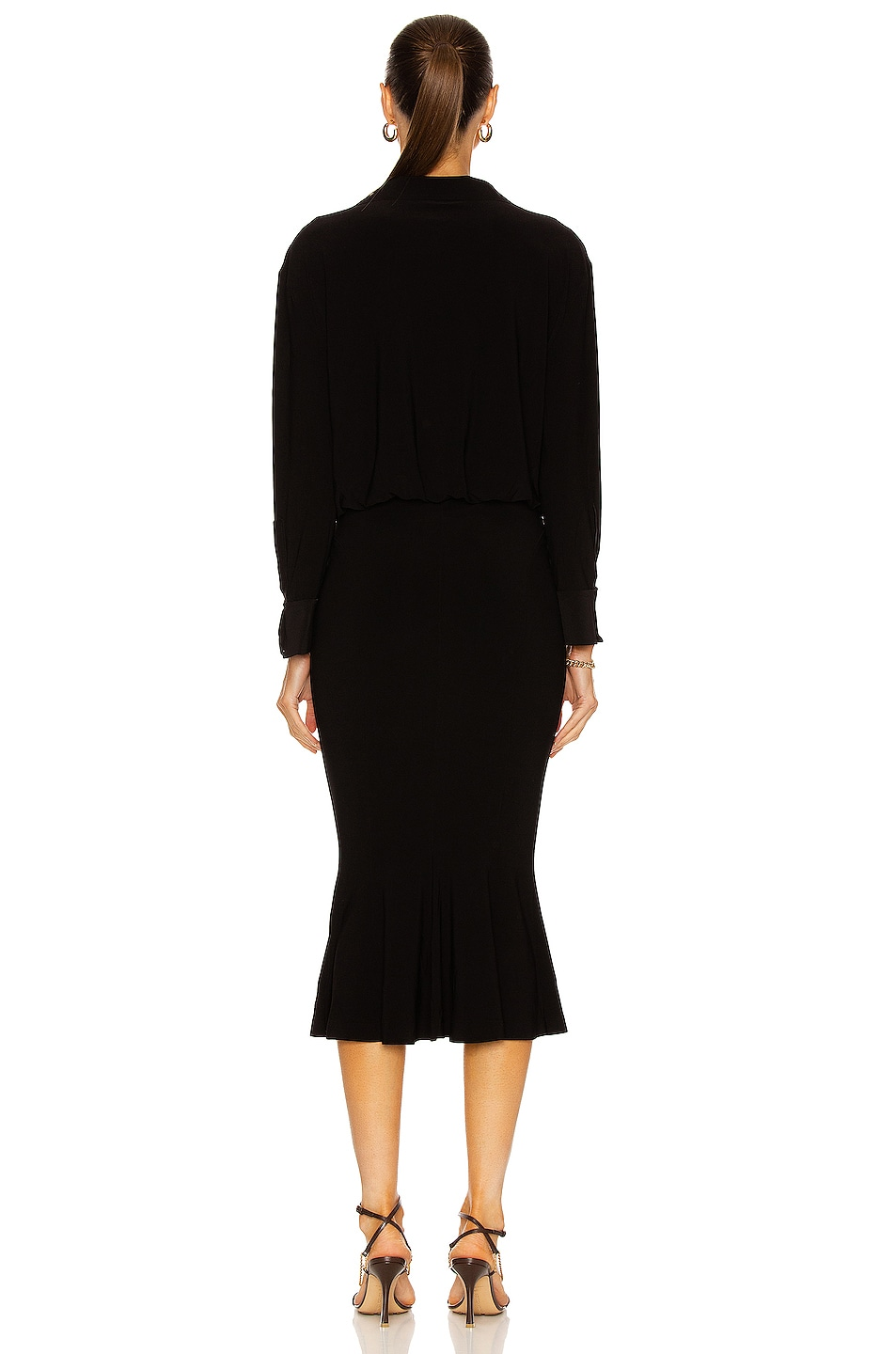 Image 3 of Norma Kamali Boyfriend NK Shirt Fishtail Dress in Black