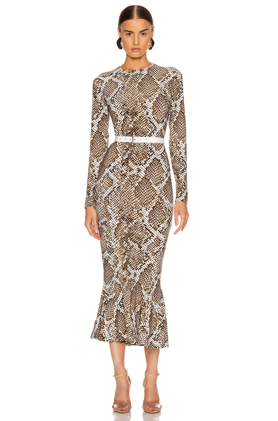Image 1 of Norma Kamali Crew Fishtail Dress in Scale Python