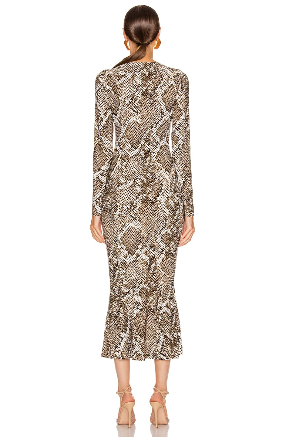 Image 3 of Norma Kamali Crew Fishtail Dress in Scale Python
