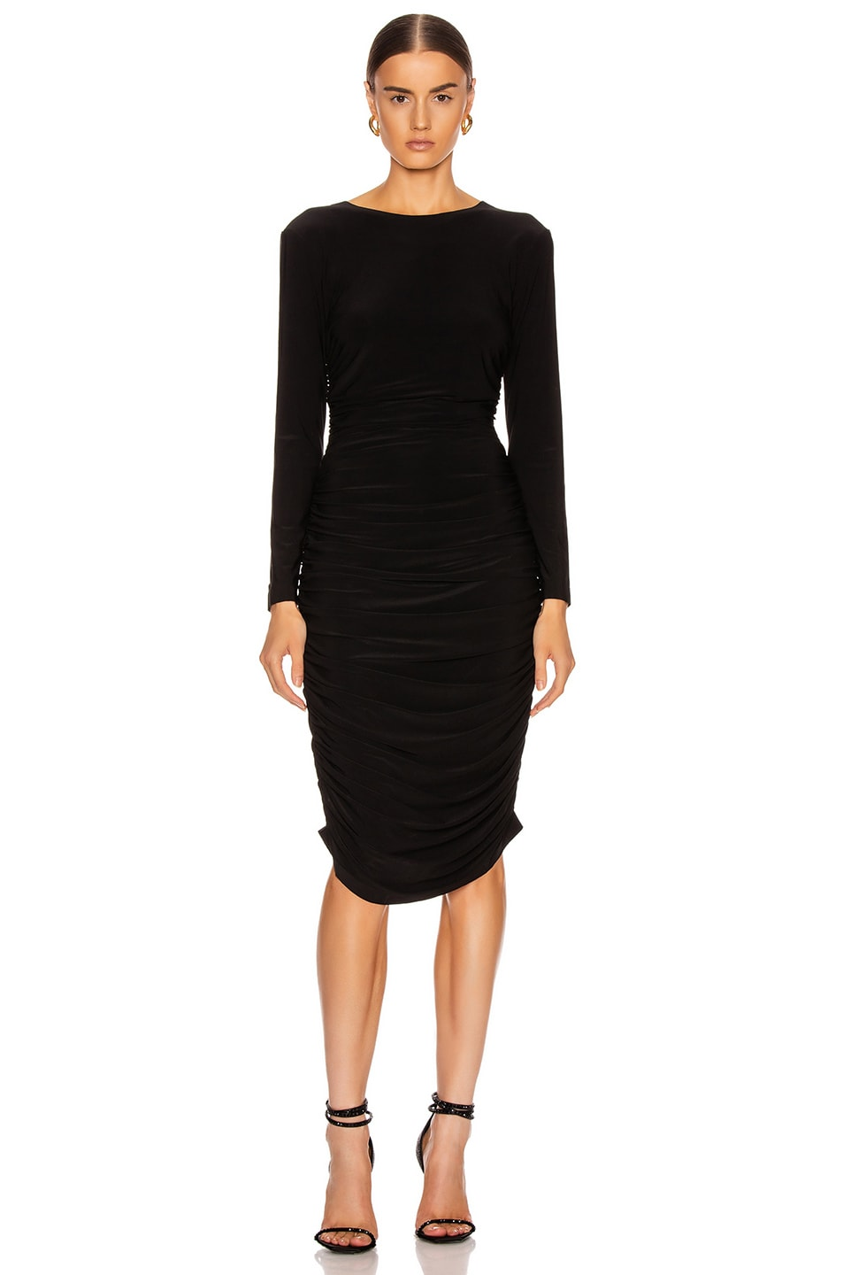 Image 1 of Norma Kamali Long Sleeve Shirred Dress in Black