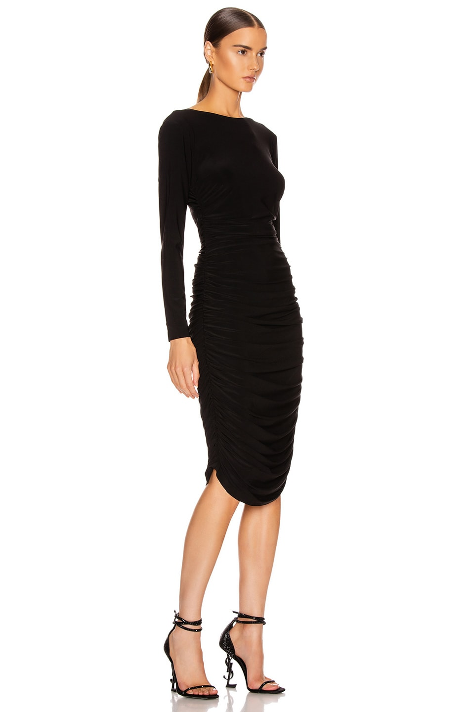 Image 2 of Norma Kamali Long Sleeve Shirred Dress in Black