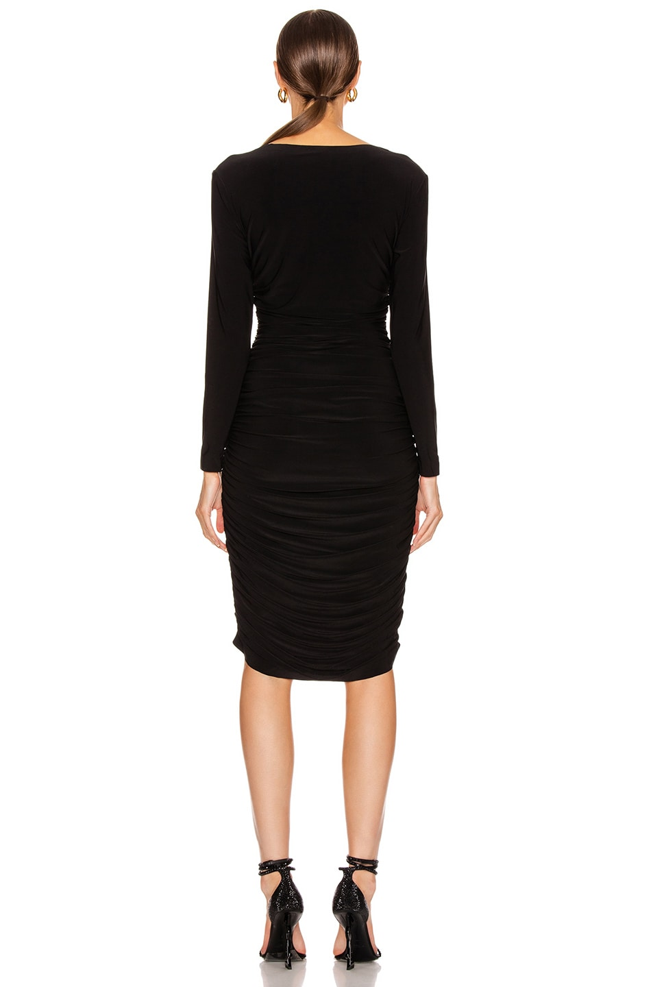 Image 3 of Norma Kamali Long Sleeve Shirred Dress in Black
