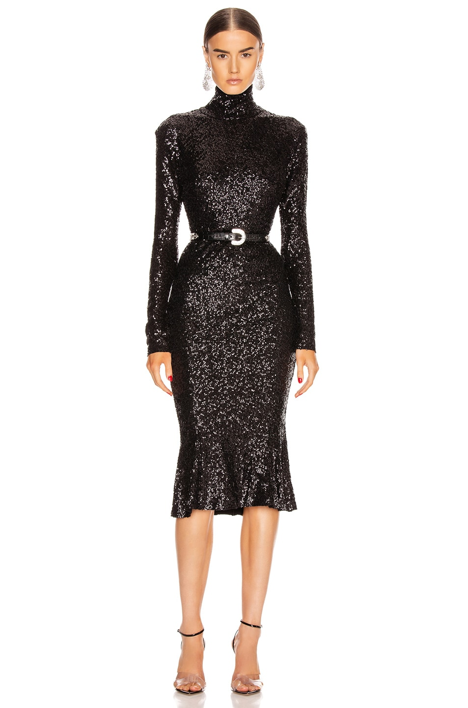 Image 1 of Norma Kamali Sequin Long Sleeve Turtleneck Fishtail Dress in Black