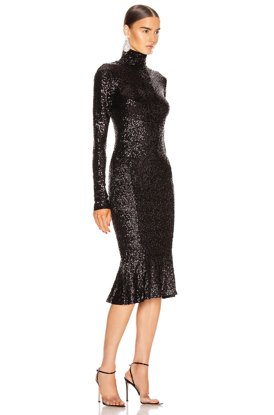 Image 2 of Norma Kamali Sequin Long Sleeve Turtleneck Fishtail Dress in Black