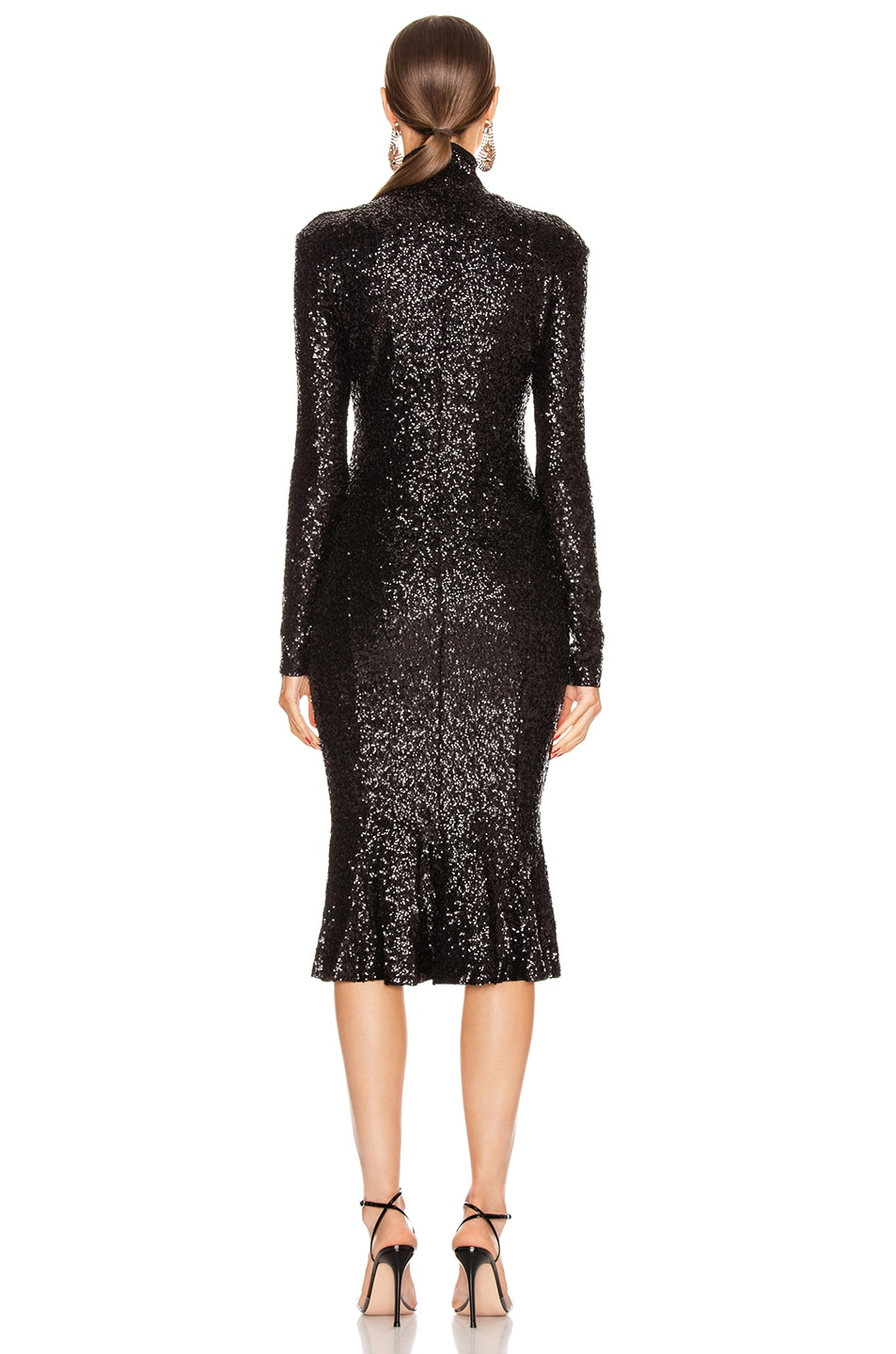 Image 3 of Norma Kamali Sequin Long Sleeve Turtleneck Fishtail Dress in Black