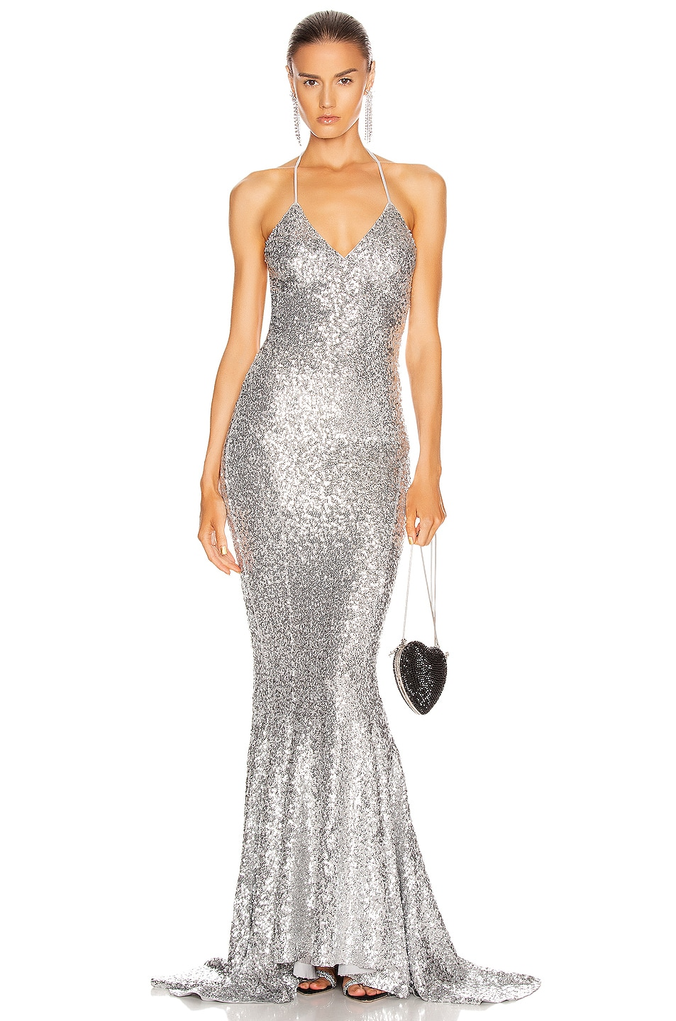 Image 1 of Norma Kamali Sequin Low Back Slip Mermaid Fishtail Gown in Silver