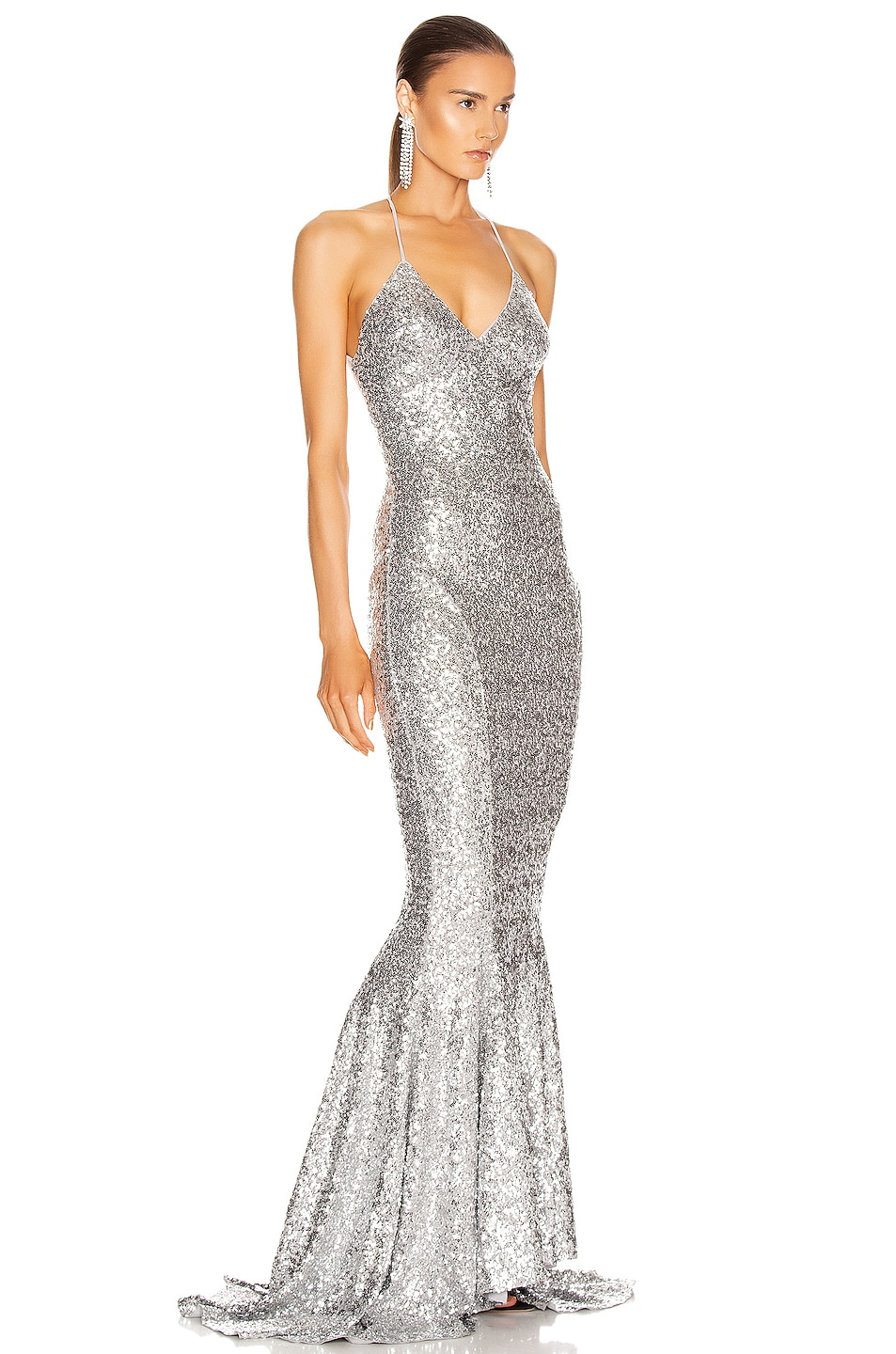 Image 2 of Norma Kamali Sequin Low Back Slip Mermaid Fishtail Gown in Silver