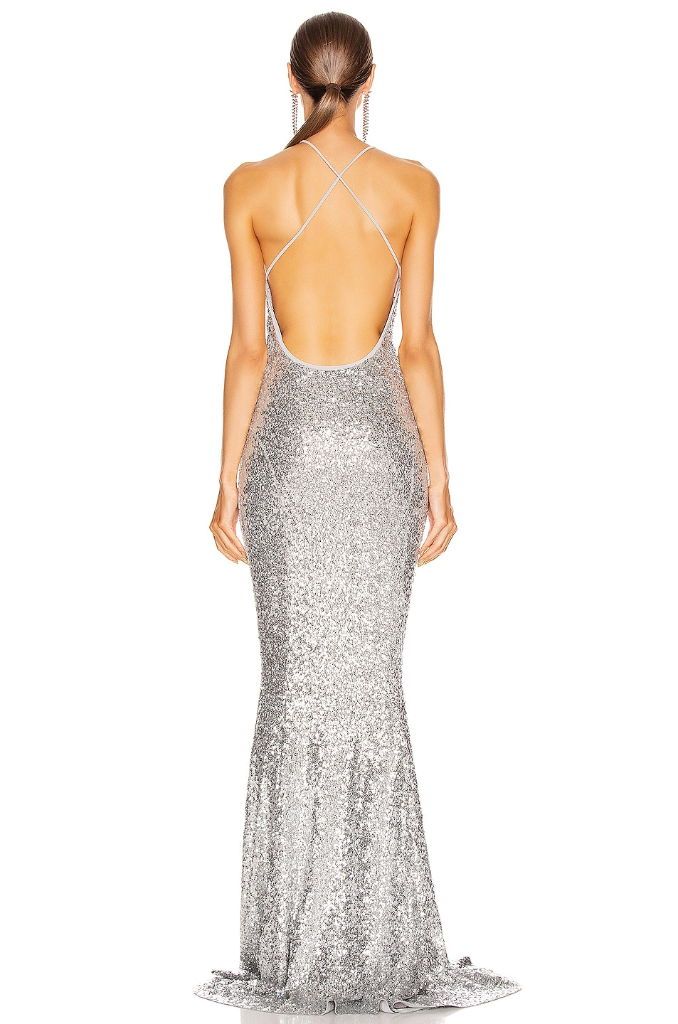 Image 3 of Norma Kamali Sequin Low Back Slip Mermaid Fishtail Gown in Silver