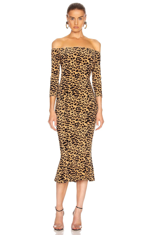 Image 1 of Norma Kamali Off Shoulder Fishtail Midcalf Dress in Golden Leopard