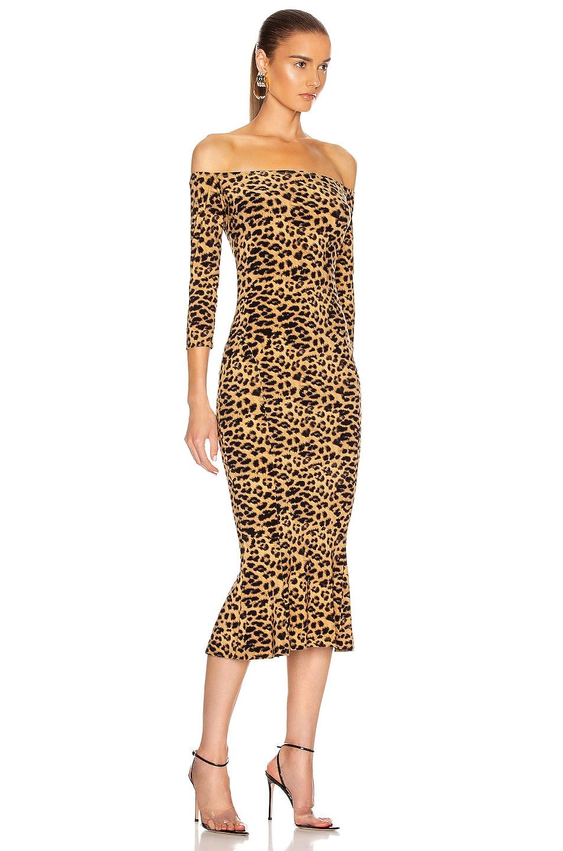 Image 2 of Norma Kamali Off Shoulder Fishtail Midcalf Dress in Golden Leopard