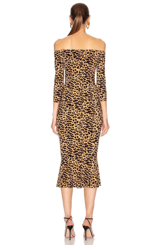 Image 3 of Norma Kamali Off Shoulder Fishtail Midcalf Dress in Golden Leopard